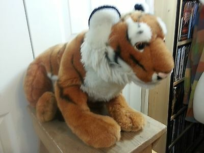 "FAO Schwarz Tiger Plush Animal   19"" Body   27"" with Tail   Very Good Condition"
