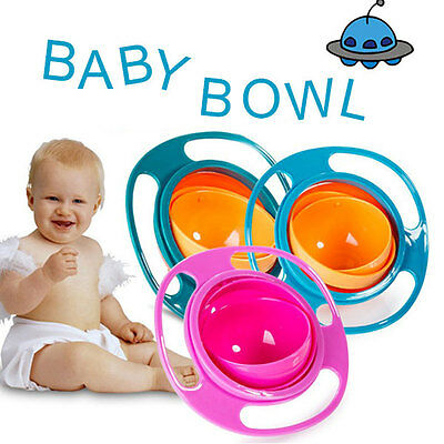 Baby Kid Non Spill Feeding Toddler Gyro Bowl Avoid Food Spilling 360 Rotating!