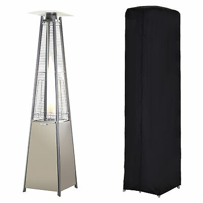 Outsunny 13KW Pyramid Patio Gas Heater Outdoor Warmer Stainless Steel w/ Wheels