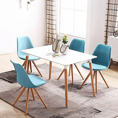 4X Wooden Chair Retro Lounge Plastic Dining Room Table Chairs Set Home Office