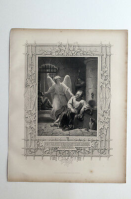 Peter Delivered by the Angel - Antique print circa 1875