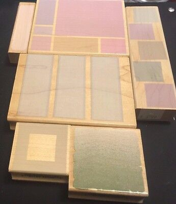 Hero Arts Wooden Rubber Stamp Lot Retired Backgrounds and Borders