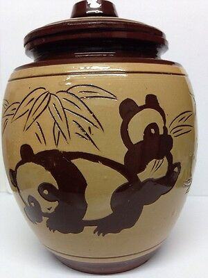 Brown Ginger Jar Decorated With Pandas - 6 Inches Tall