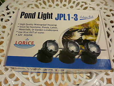 SET OF 3 halogen pond lights, WIDE SPREAD