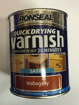 3x Ronseal Quick Drying Varnish Satin Mahogany 750ml Diy Clearance