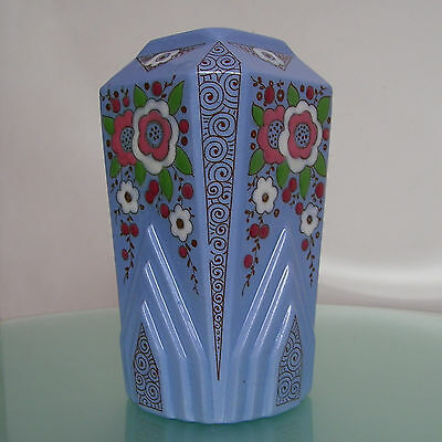 ANCIEN VASE ART DECO EMAILLE FAIENCE LONGWY 1930's VINTAGE ENAMEL FRENCH CERAMIC