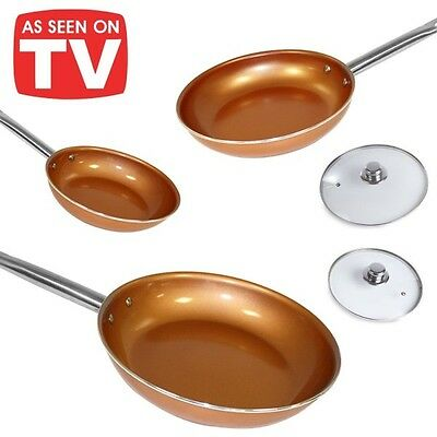 Set 3 padelle copper rivestite in ceramica e rame antiaderente red pan