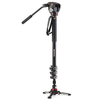 New In Box Manfrotto MVMXPROA42W 2-Way head & FLUIDTECH 4 Sections Video Monopod