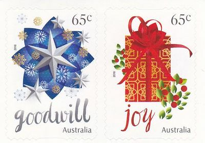 Australian Stamps - 2016 65c x 2 Christmas (Gift & Star) - P&S Mint