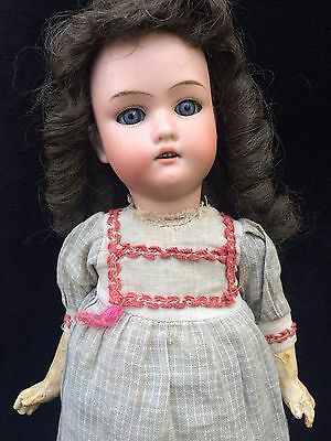 "Antique German Bisque Head 14"" Doll Marked 4/0 Glass Eyes Kestner Heinrich ???"