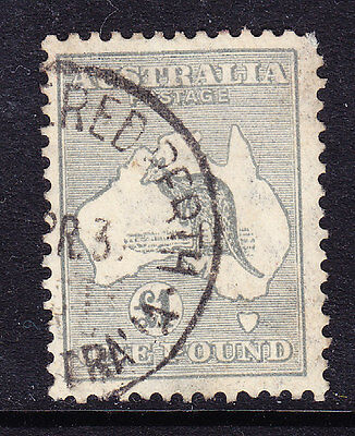 AUSTRALIA 1935 SG137 £1 grey - watermark Crown C of A - superb used. Cat £275