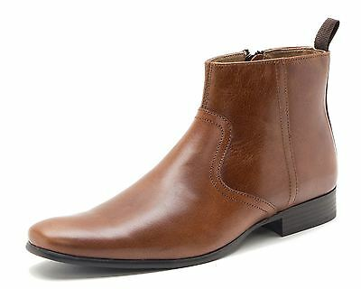 Red Tape Belmont Mens Leather Zip Up Mens Ankle Boots Tan Brown
