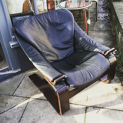 Vintage Danish Black Leather Lounge Chair By Skippers Mobler Denmark c1960s