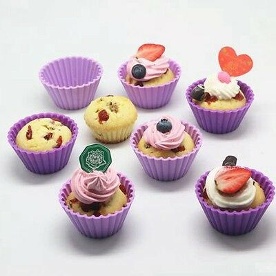 6x Silicone Round Shape Cup Cake Cases Muffin Baking Mould Cupcake Thicker Molds