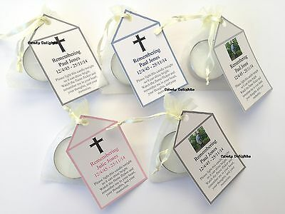50 Remembrance  , Funeral DIY Organza bag, Candle & Personalised Tag Favours