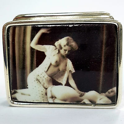 ENAMEL EROTIC 1920's STYLE SPANKING PILL BOX 925 SOLID SILVER HALLMARKED