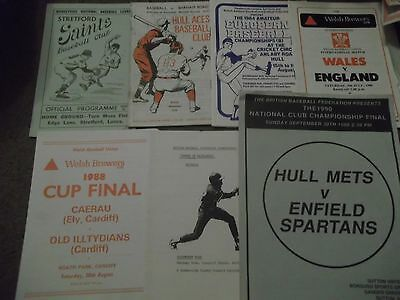 Baseball Programme Collection Various 1962 - 1990 Inc Many Hull Interest