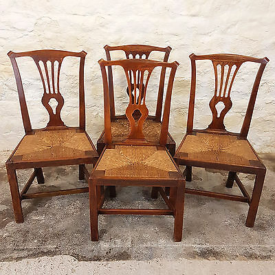 George III Elm & Rush Chippendale Set of 4 Dining Chairs C1810 (Georgian Antique
