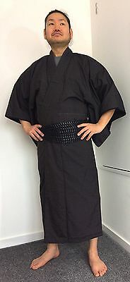 Authentic Japanese blue silk kimono for men, imported from Japan (E998)