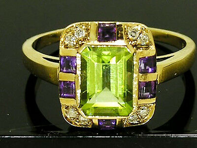 R285 REAL 9K Gold Natural Peridot Amethyst Diamond Ring Suffragette in yr size