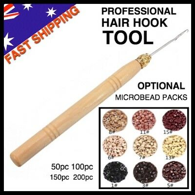 Hook Tool Pulling Needle Wooden Handle Microbeads Micro Rings SiliconeLined Bead