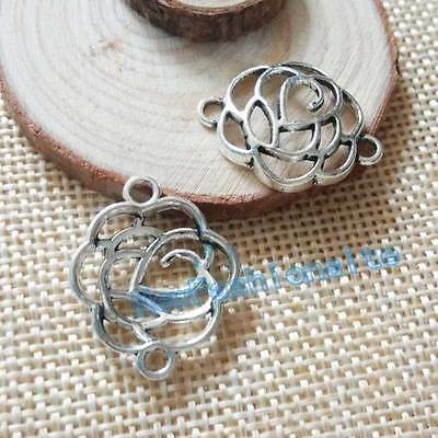 20PCS 24x19mm Antique silver Rose Flower Connector Charms Pendant DIY Findings