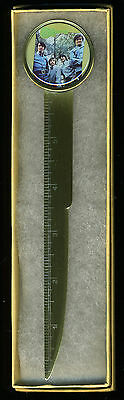 """The Monkees Brass Plated Steel LETTER OPENER with 6"""" Ruler Boxed The Monkees"""