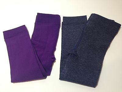 NEW Cozy Tights Girl's Fleece Lined Footless Tights Navy/Purple 2-Pair  S (2-4)
