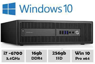 HP EliteDesk 800 G2 - Intel Core i7 6700 @ 3.40GHz, 16gb, 256gb SSD Win 10 Pro