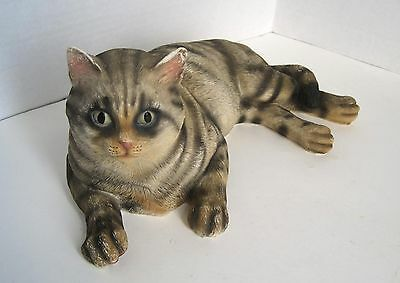 """13"""" Striped Tabby Alley Cat Shorthair House Kitty Resting Resin Figure Figurine"""