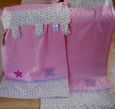 """Girls Bedroom NEXT BUTTERFLIES AND ROSEBUDS  Tab Top Curtains  LINED 52"""" x 54""""w"""