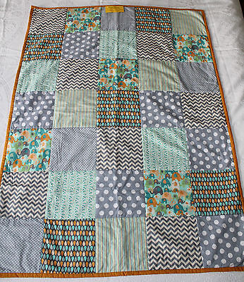 Cot Quilt Quality Handmade Modern Style Funky Colours
