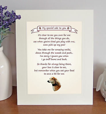 """Saluki 10"""" x 8"""" Free Standing 'Thank You' Poem Fun Novelty Gift FROM THE DOG"""