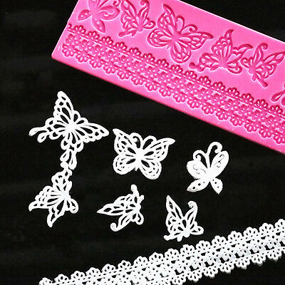 New Silicone Embossed Mold Butterfly Lace Fondant Cake Decorating Mould  Hot