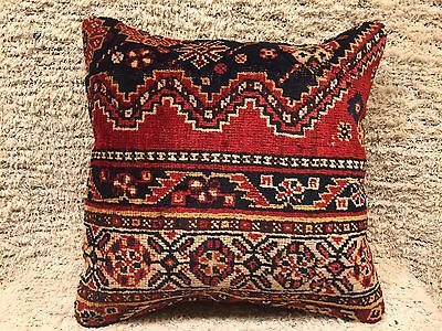 """Antique Turkish Wool Carpet Pillow Cover,hand-Knotted Carpet Rug Pillow,16""""x16"""""""