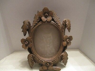 "Brown Wood Like Carved Resin Flower Leaves Oval 4.5""x3.5"" Picture Frame W/Glass"
