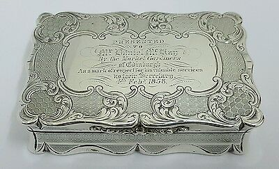 stunning antique solid silver table snuff box birmingham 1855