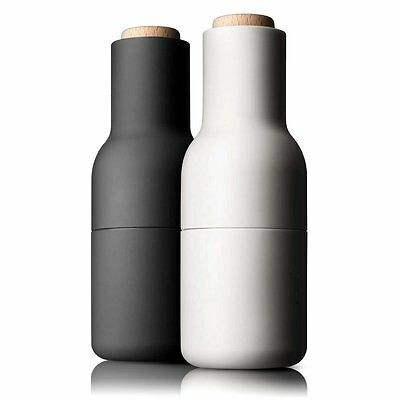 Menu Small Bottle Grinders with Wooden Top - Set of 2 - Ash & Carbon