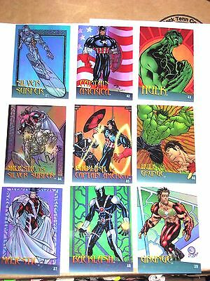 1997 MARVEL vs. WILDSTORM 9 CARD CLEARCHROME INSERT CHASE SET! CAPTAIN AMERICA!