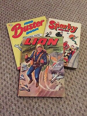 The Lion Annual 1970, The Sparky Book 1975 And 1989 Buster Book Annuals