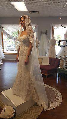 Bridal Mantilla Cathedral Lace Veil With Comb /White or Light Ivory