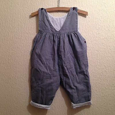 Vintage 80s Blue Houndstooth Handmade Baby Cotton Playsuit Romper Dungarees 6-12