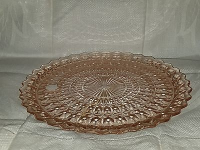 "Pink Depression Glass 10"" Cake Plate"