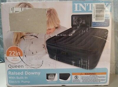 Intex Queen Raised Downy Air Mattress Bed With Built-In Electric Pump, 66717E