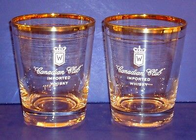 2  AUTHENTIC / VINTAGE CANADIAN CLUB WHISKEY ON ROCKS GOLD RIM GLASSES  USA Made