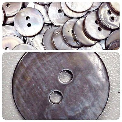 Lot 15 10mm 16L 2H Flat GREY Real Natural Shell Mother of Pearl Shirt Button