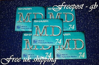 5 x SUPER QUALITY SHARP MD-R74 BLANK MINIDISCS - 74 MINUTES - NEW IN BOXES