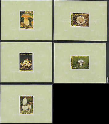XG-AL336 NIGER IND - Mushrooms, 1985 Nature, 5 Deluxe Proof Sheets MNH