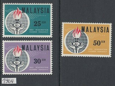XG-AL146 MALAYSIA - Human Rights, 1964 Eleanor Roosevelt MNH Set
