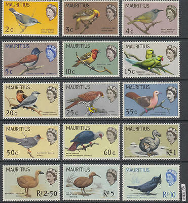 XG-AL297 MAURITIUS - Birds, 1965 Definitives, Nature, 15 Values MNH Set